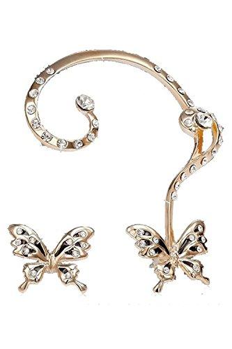 Motyy Pendiente de Pinza de Orejas de estras de Mariposa para Mujeres