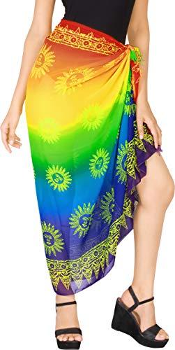 "LA LEELA Women's Sarong Wrap Swimwear Cover Up Beach Yoga Mat 72""x42"" Multi_I842"