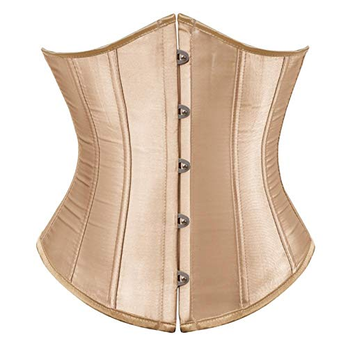 ZSDSX Broncy Borset para Mujer Satin Lace Up Bustner Bustier Top Dance Classic Daily Plus Tamaño Sexy Gothic Party Clubwear (Color : Beige, Size : 5XL)