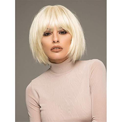 peluca Pelucas con estilo para mujeres pelucas europeas y americanas para mujeres, juegos de cabello blanco, pelo de fibra química dorada, flequillo roto, pelucas de pelo corto la mejor opción de rega