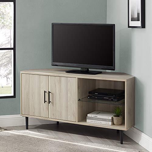 "Walker Edison 2 Door Glass Shelf Corner Stand Console, fits TVs up to 55"", 48, Birch"