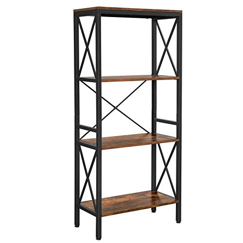 VASAGLE Bücherregal, Standregal, Leiterregal, Küchenregal mit 4 offenen Regalebenen, Flur, Küche,...