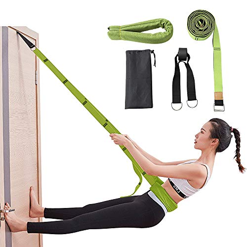 Diamerd Leg Stretcher Yoga Strap Door Flexibility Trainer Backbend Assist Pilates Equipment Double Layer Premium Fabrics High Security for Yoga Dance Beginners Instructions Included (Green)…