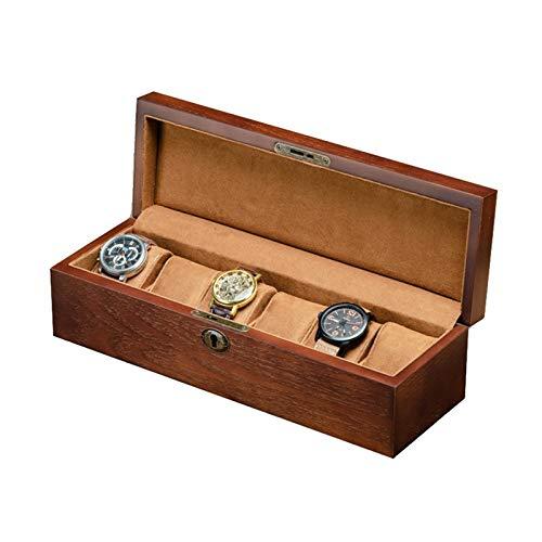 KHUY Caja de reloj personalizada para hombre con 6 ranuras, organizador de reloj para hombres y mujeres, cajas de reloj de madera de alta calidad, organizador de exhibición de regalo de joyería