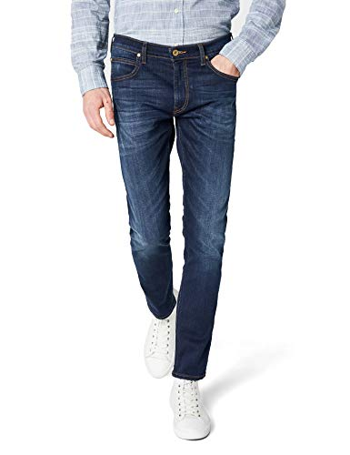 Lee Herren Tapered' Tapered Fit Jeans Luke', Blau (True Authentic GCBY), 34W / 32L (Herstellergröße: 34W / 32L)