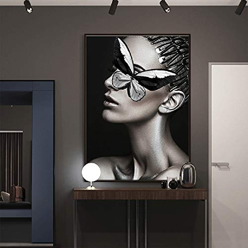 ZHQHYQHHX Wandmalerei Figure Art Schmetterlings-Schönheit Dekorative Malerei Schwarz-Bilderrahmen-Wand HD Micro-Sprays Hängende Malerei (Size : 50cm*70cm)