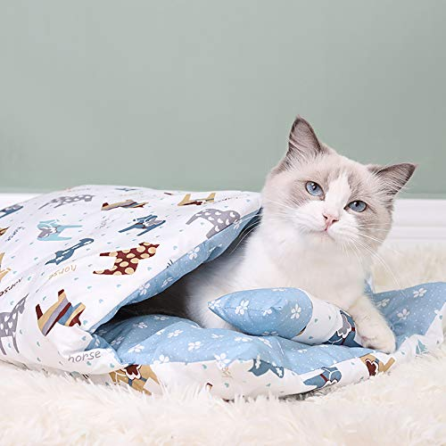 Cat Bed Cat Sleeping Bag, Self Warming Cat Cave Bed, Ultra Soft & Comfort cat Bag with a Pillow Warm Pet Cave Best for Autumn Winter Indoor Kittens (M-55x40cm, A02)