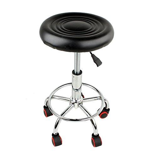 SKIESOA kruk draaibaar op wieltjes werkkruk in hoogte verstelbaar 45-55 cm kruk stoel 360 ° draaibaar met 5 wielen voor kapper esthetiek dentist bar schoonheidssalon