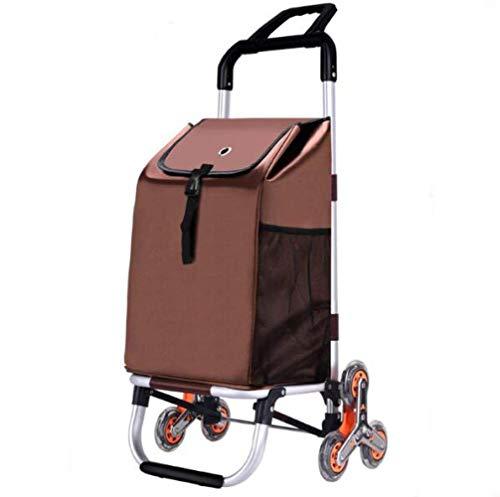 Pkfinrd Coches de compras para escalera, con 6 ruedas y ruedas de cristal, plegable, con tapa y bolsillo con cremallera, capacidad de 40 l, resistente al agua, ligero y estable (color: B)