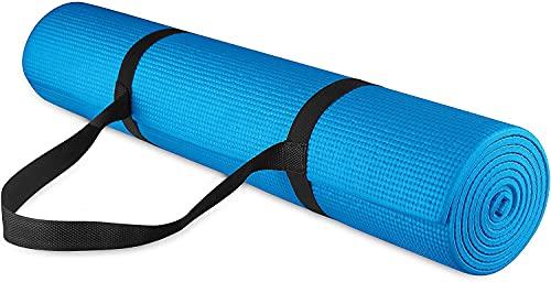 Esterilla de yoga de PVC de goma resistente al desgaste, antideslizante de alta densidad (color: azul)