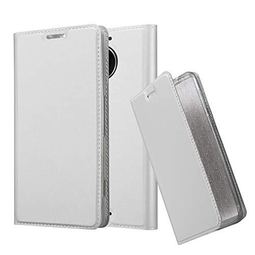 Cadorabo Custodia Libro per Nokia Lumia 950 XL in Classy Argento – con Vani di Carte, Funzione Stand e Chiusura Magnetica – Portafoglio Cover Case Wallet Book Etui Protezione