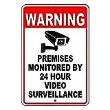 PotteLove CDYSKJCO - Señal de advertencia de metal con señal de advertencia para locales supervisados por 24 horas de videovigilancia de metal para garaje, motel parque, carretera, área pública U02