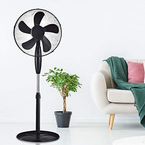 etc-shop Turm Ventilator weiß drehbar 3-Stufen Kühler Büro Wohn Zimmer Fernbedienung Stand Lüfter oszillierend schwarz Display, Farbe:schwarz - Standventilator