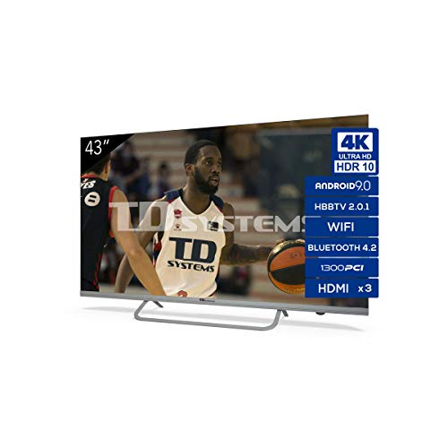 TD Systems - Televisor K43DLX11US, Smart TV 43 Pulgadas, Android 9.0 y HBBTV, 1300 PCI Hz UHD HDR,...