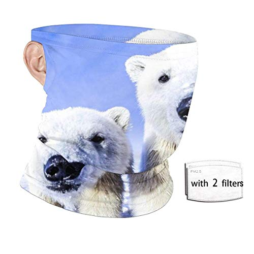 Baby Animals Polar Bear UV Protection Seamless Face Ear Loops Banda Scarf with 2 Filters Reusable Neck Gaiter Balaclava Headwear