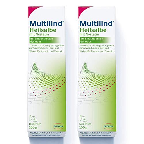 2x Multilind Heilsalbe – Zinksalbe bei Entzündungen der Haut mit dem Anti-Pilz Wirkstoff Nystatin und antibakteriellem Zinkoxid – 2 x 100 g Salbe