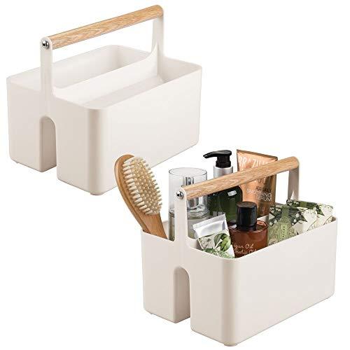 mDesign Set da 2 cesti portaoggetti bagno – Scatola per armadio con comodi manici – Contenitore salvaspazio in plastica e legno con 2 pratici scomparti – beige/naturale