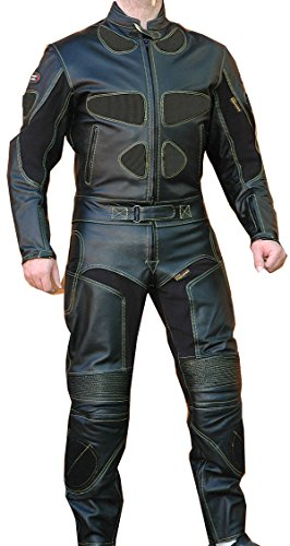 Perrini 2pc Motorcycle Riding Racing Leather Track Suit w/Padding & Armor New Black
