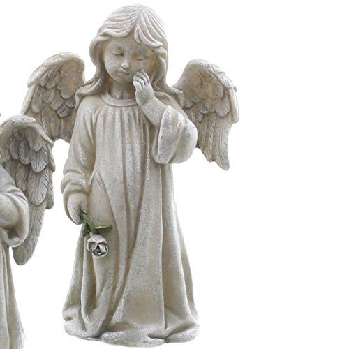 Engel Figur mit Kleidchen und Trauer Rose in der Hand. Höhe 24 cm. 1 Stück