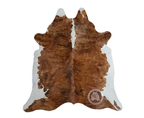 Sunshine Cowhides Teppich aus Kuhfell, Farbe: Schwarz Braun und Weiß 240 x 200 cm, Premium - Qualität von Pieles del Sol aus Spanien