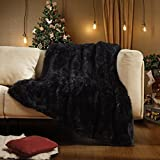 Lvylov Soft Fuzzy Faux Fur Throw Blanket 50'' x 60'', Thick Warm Fluffy Plush Blankets and Throws, Comfy Cozy Shaggy Furry Blankets for Couch/Bed/Sofa, Decorative Chic Accent, Machine Washable, Black