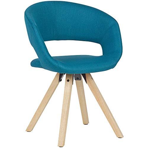 FineBuy Esszimmerstuhl Petrol Stoff/Massivholz Retro | Küchenstuhl mit Lehne | Stuhl mit Holzfüßen | Polsterstuhl Maximalbelastbarkeit 110 kg