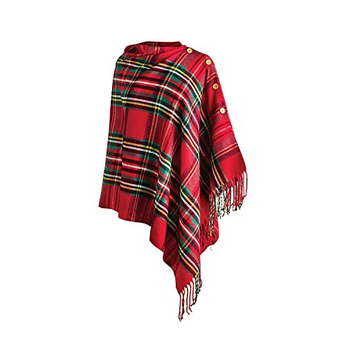 Top It Off Women's Plaid Poncho, Red Royal Stewart Tartan Button Front Wrap