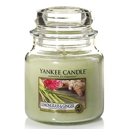 Yankee Candle Yankee candle duftkerze im glas mittelgroß | lemongrass & ginger | brenndauer bis zu 75 stunden