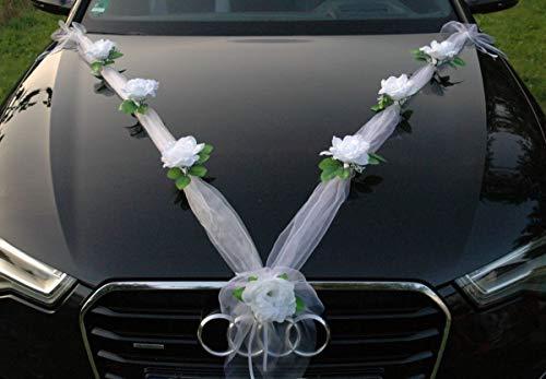Organza M Auto Schmuck Braut Paar Rose Deko Dekoration Hochzeit Car Auto Wedding Deko Girlande PKW (Reinweiß/Weiß)