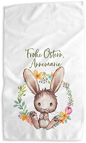 Geschirrtuch Ostern mit Ostermotiv Hase personalisiert mit Name/Wunschext