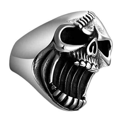 Abridor de botellas de anillo de cóctel de motociclista con calavera gótica y antiguo (tamaño 10)