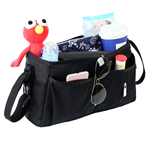 JYSW Baby Stroller Organizer, Baby Stroller Caddy with Multiple Pockets and Shoulder Strap Fits for Universal Stroller to Storage Phones, Wallets, Toys, Diapers and Tissue (Black)
