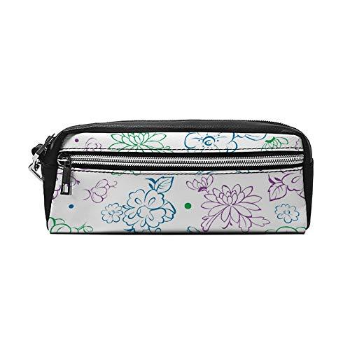 Blauw Paars Groen Kimono Bloemen Tekenen PU Lederen Potlood Case Make-up Bag Cosmetische Tas Potlood Pouch met Rits Reizen Toilettas voor Vrouwen Meisjes