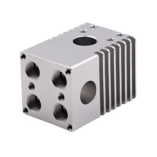 B Blesiya 1 Set 3D Printer UM2 Ultimaker Aluminum Heating Block Cross Connecting Block Injection Molding -silver
