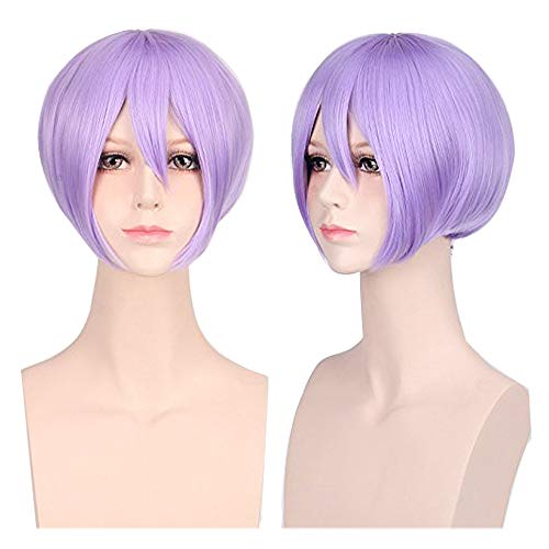 GOOACTION Boys Short Anime Stright Bob Light Purple Wig with Bangs for Male Unisex Halloween Cosplay Party and Daily Synthetic Hair Wigs