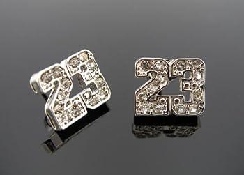Michael Jordan Jumpman 23 Basketball Silver Tone CZ Stud Hip Hop Bling Earrings