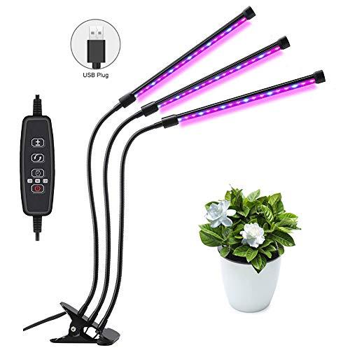 YCGYJH plantenlamp LED 27W plantenlamp groeilamp groeilamp licht groeien lamp volspectrum voor kamerplanten met timer, A