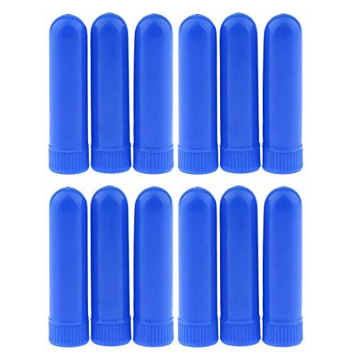 Petyoung 12 Stücke Ätherisches Öl Flasche Aromatherapie Nasal Inhalator Sticks DIY Monochrome Parfüm Nasal Stroh Baumwolle Riechen Rohr (Color : Blau)