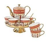 Taza de Latte Art Taza de café rotatoria europea de China, juego de café de borde de oro inglés, taza de café de...