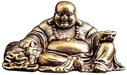GDEVNSL 1 Uds Mini Estatua de Buda de latón, Adorno de Escultura de Buda Maitreya Retro, estatuilla de Buda riendo de Coche, artesanía, decoración del hogar