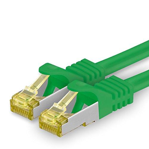 1aTTack.de Cat.7 netwerkkabel - Cat7 ethernetkabel netwerk internet DSL modem router hub patchkabel LAN-kabel ruwe kabel 10 Gb/s (SFTP PIMF LSZH) set patchkabel met Rj 45 stekker Cat.6a 1m groen - 1 stuk