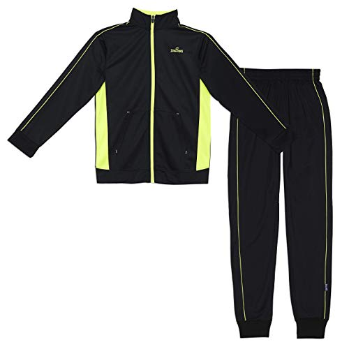 Spalding Boys Side Stripe Tricot Athletic Two-Piece Tracksuit Set Black/Yellow 14