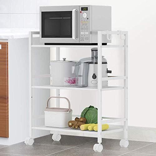 Metalen rek met 3 lagen op wielen, rek, vloerstaande keuken, woonkamer, gebruiksvoorwerpen, restaurant met handgreep, magazijnwagen, kleur: zilver wit