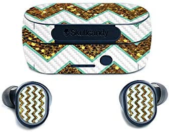 MightySkins Carbon Fiber Skin for SkullCandy Sesh True Wireless Earbuds Glitzy Chevron Protective product image
