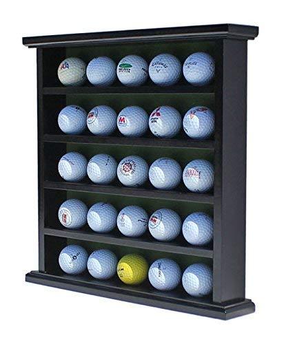 DisplayGifts Golf Ball Display Case Wall Rack Cabinet, NO Door, GB25 (Black)