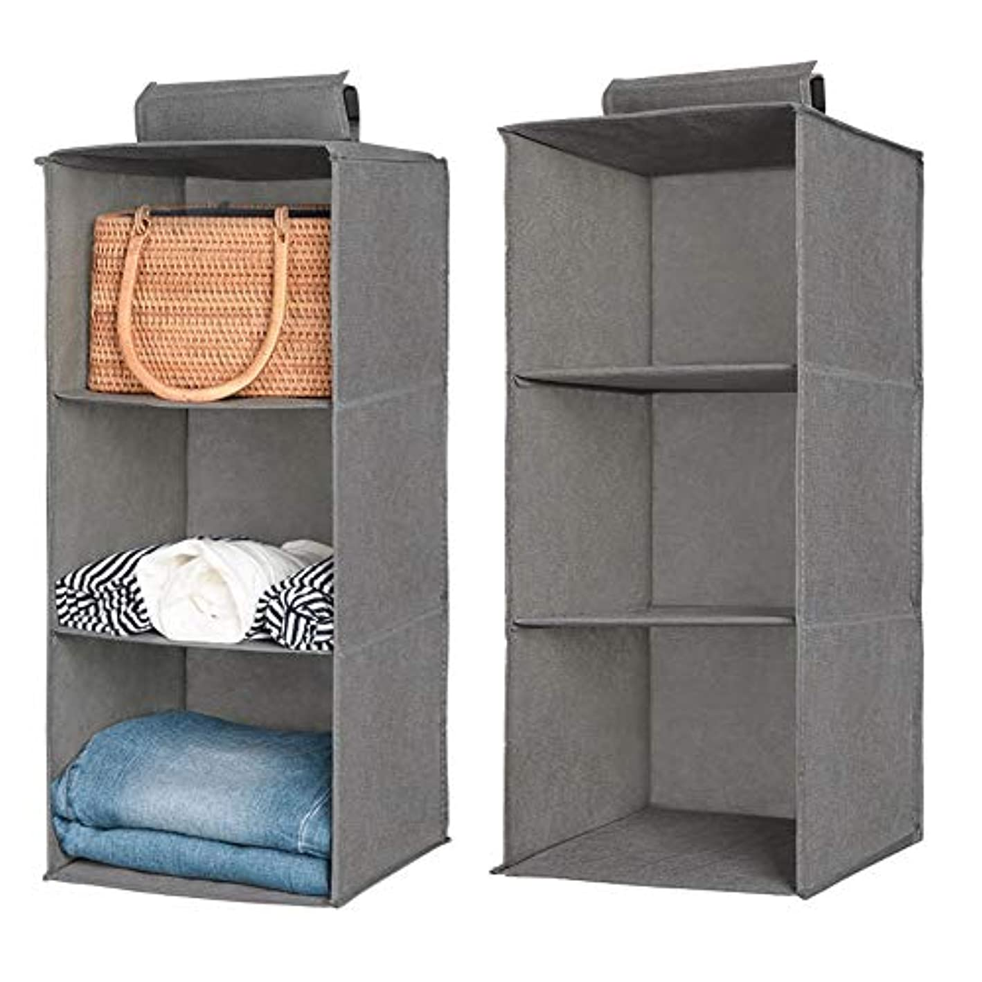 Aoolife Closet Hanging Shelves Organizer,Linen Cloth,Light and Breathable Collapsible Hanging Closet Organizer for Sock, Clothes, Bra, Toys and More (3 Shelf- 2 Pack)