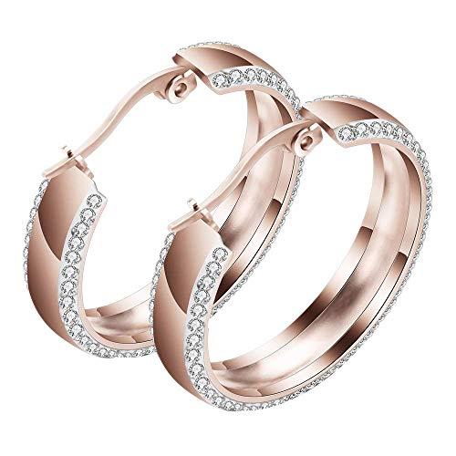 Onefeart Titanio Aretes de aro para Mujeres Chicas Redondo Zircon Pulido Diseño Elegant estilo de damas 29MMx6MM Rosa Oro