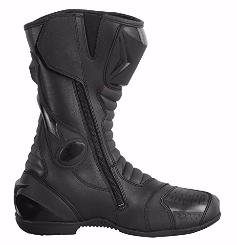 ProFirst Split Leder Wasserdicht Motorrad Motorrad Gepanzerte Stiefel Stiefel Schuhe Anti-Rutsch Rennsport | Schwarz / Black, EU 43 - 5