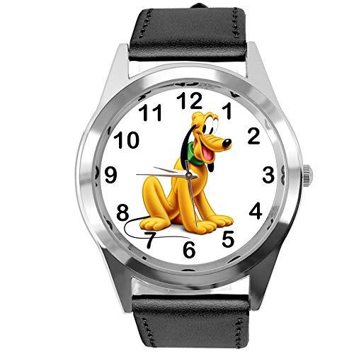 TAPORT®, Quarz-Armbanduhr mit Pluto-Motiv (Disney), schwarzes Lederarmband, mit Ersatzbatterie und Geschenkbeutel