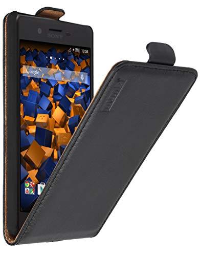 mumbi Echt Leder Flip Hülle kompatibel mit Sony Xperia X Hülle Leder Tasche Hülle Wallet, schwarz